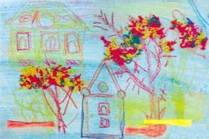 Саша Гевко, 6 лет «Осенний пейзаж» (коллаж с использованием шерстяных ниток)