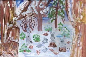 Егор Марков, 7 лет, Соня Дрожжина, 7 лет «На лесной полянке» (коллаж с использованием «сморщенной» ткани)