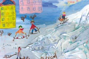 Аня Куликова, 6 лет «И мороз не страшен!» (коллаж с использованием «сморщенной» ткани)
