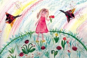Женя Маркина, 6 лет «Лето» (коллаж с использованием бумажных фигурок оригами (бабочки) и фигурок из теста (божьи коровки)