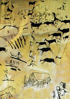 Наскальный рисунок, изображающий охоту на антилоп