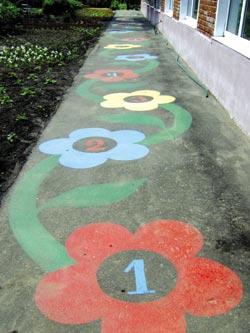 Оформление участка детского сада рисунки на асфальте