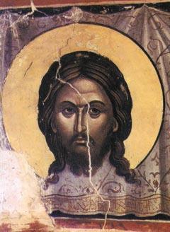 Спас Нерукотворный. Фреска собора монастыря Ставроникита. Афон,  1546 г.